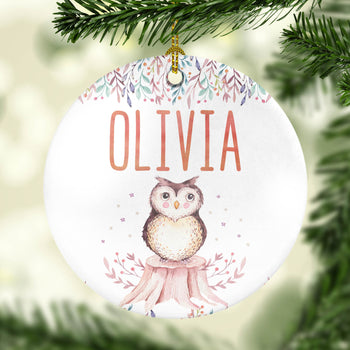 Woodland Owl - Personalized Ornament