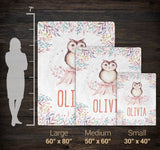 Woodland Owl - Personalized Name Blanket - Size Comparison