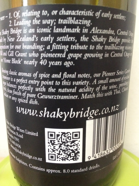 shaky bridge pioneer gewurztraminer wine discount online singapore winestore.sg