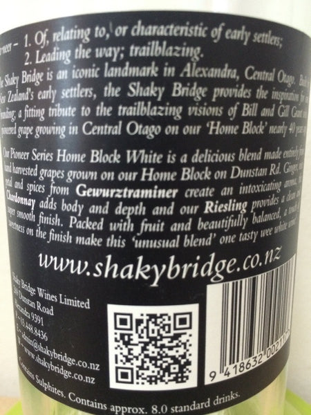 shaky bridge pioneer home block mix of gewurztraminer, chardonnay and riesling buy cheap in Singapore