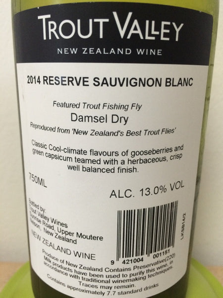 2014 trout valley reserve cheap price singapore winestore