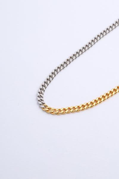 Gold and silver curb chain necklace