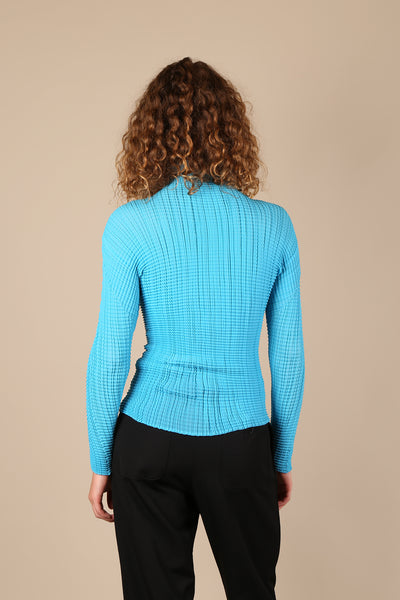 Issey Miyake Pleats Please Long Sleeve Top Blue