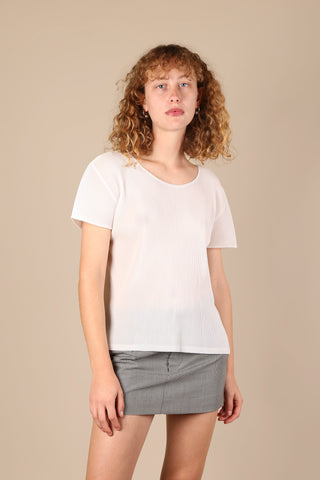 Issey Miyake Pleats Please Top White - ShopGoh