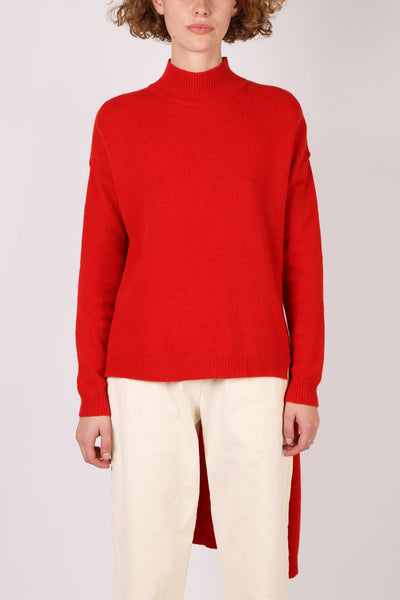 Asymmetric Red Knit