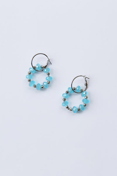 Beaded Double Hoop Earrings Blue