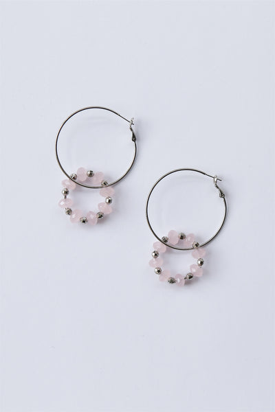 Large Beaded Double Hoop Earrings Baby Pink