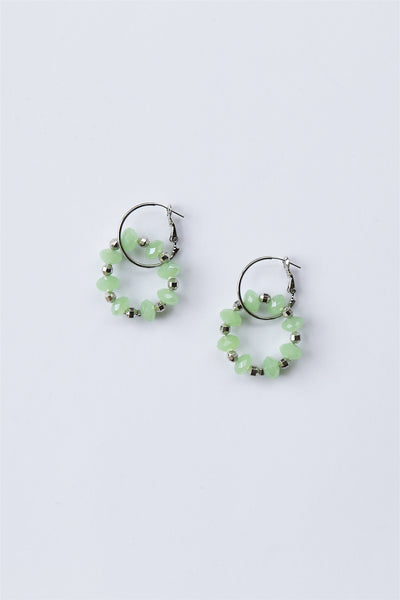Beaded Double Hoop Earrings Mint Green