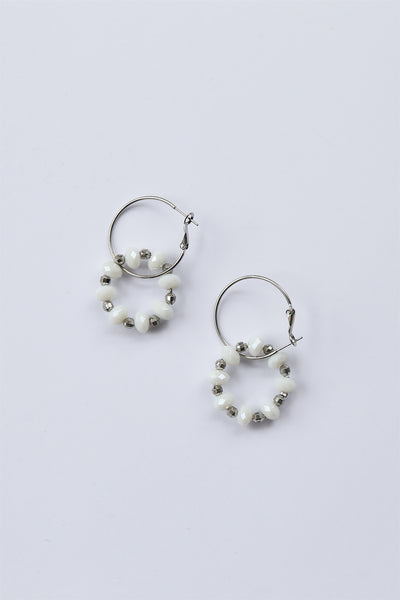 Beaded Double Hoop Earrings White