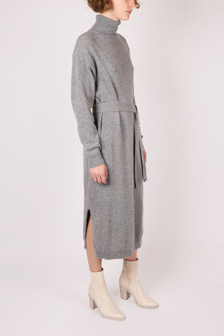 Belted Wool Dress Grey