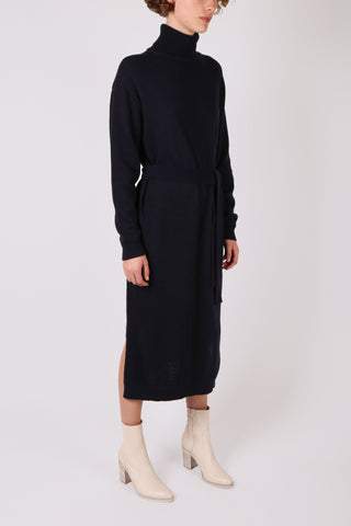 Belted Wool Dress Navy