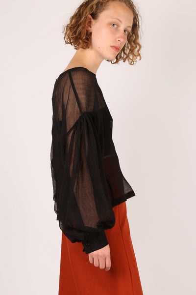 Billowy Sheer Top Black