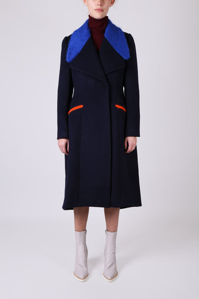 Coat with Furry Collar Navy
