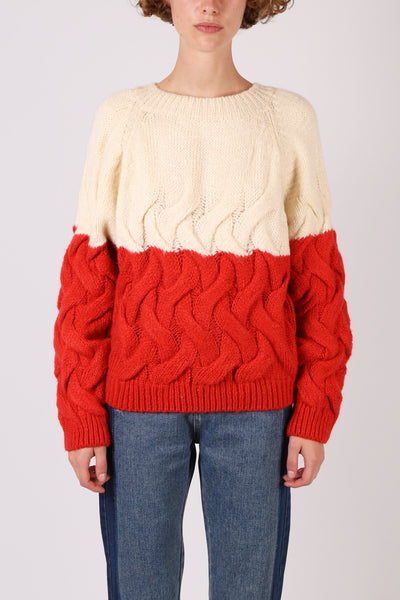 Cream/Red Knit