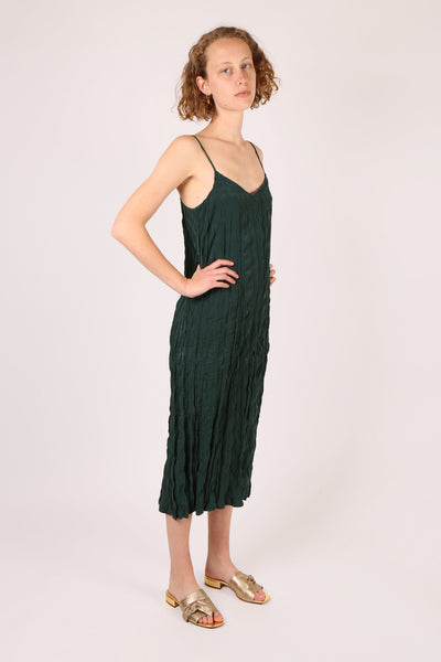 Crinkle Slip Dress Forest