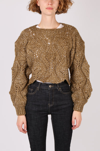 Cropped Lattice Knit