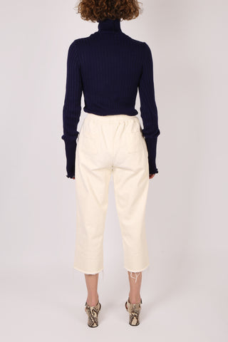 Cropped Raw Hem Pant Cream