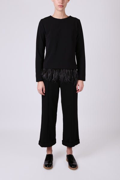 Cropped Wide Leg Pant Black
