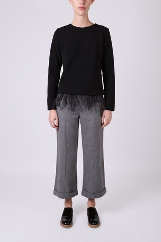 Cropped Wide Leg Pant Grey