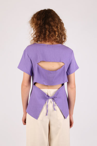 Cut Out Back Top Purple - ShopGoh