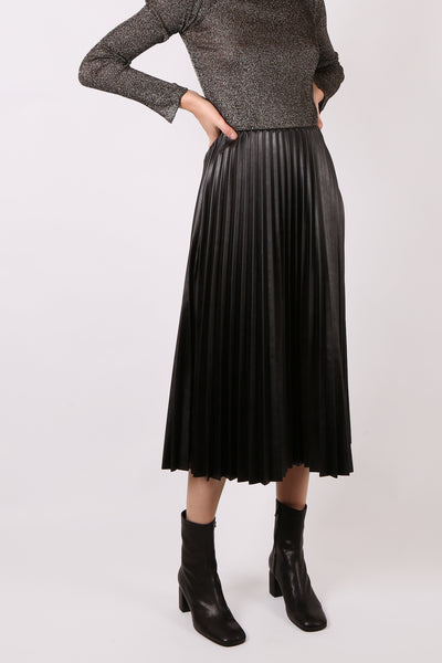 Faux Leather Pleated Skirt Black - ShopGoh
