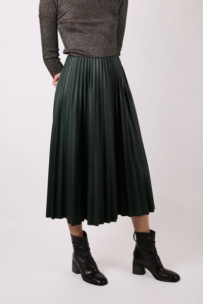 Faux Leather Pleated Skirt Green - ShopGoh