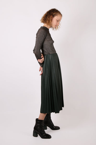 Faux Leather Pleated Skirt Green