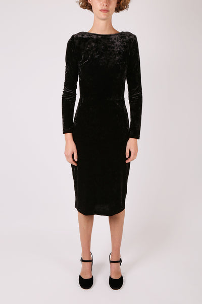 Fitted Velvet Dress Black