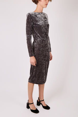 Fitted Velvet Dress Grey