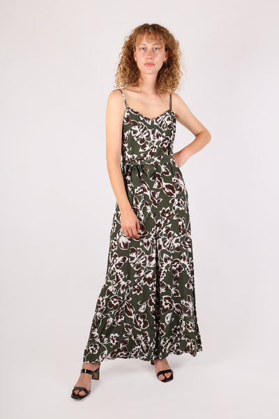 Floral Jumpsuit Dark Green - ShopGoh