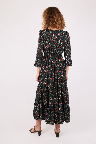 Floral Midi Dress Black Multi