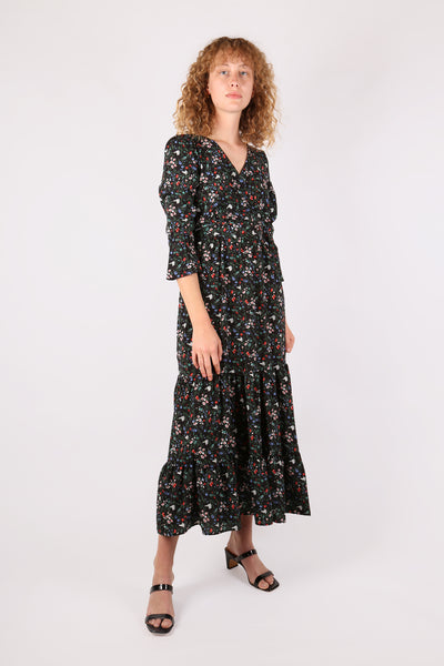 Floral Midi Dress Black Multi - ShopGoh