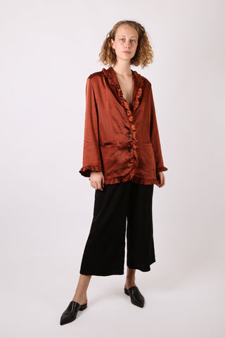 Frilled Satin Blazer Rust - ShopGoh