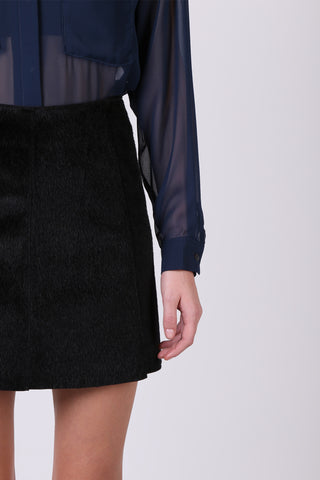 Furry Mini Skirt Black