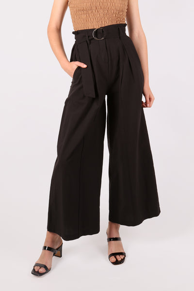 High Waist Belted Pant Black