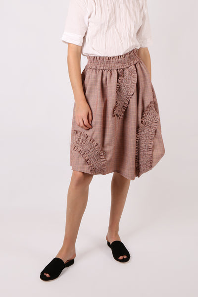 Ruched Houndstooth Skirt - ShopGoh