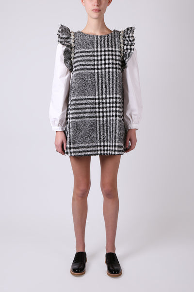 Houndstooth Shirt Sleeve Dress