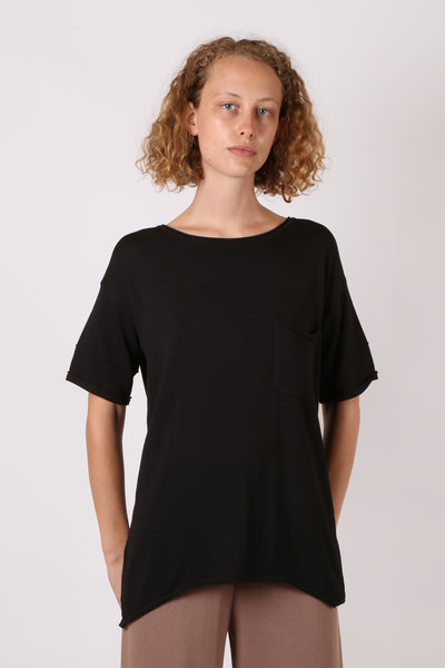 Knit Pocket Tee Black