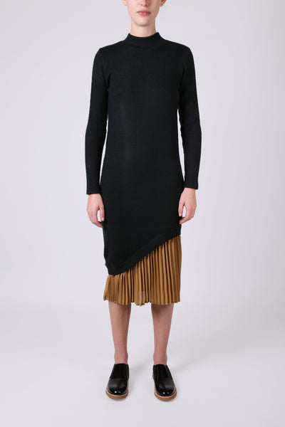 Knit Dress with Pleated Hem