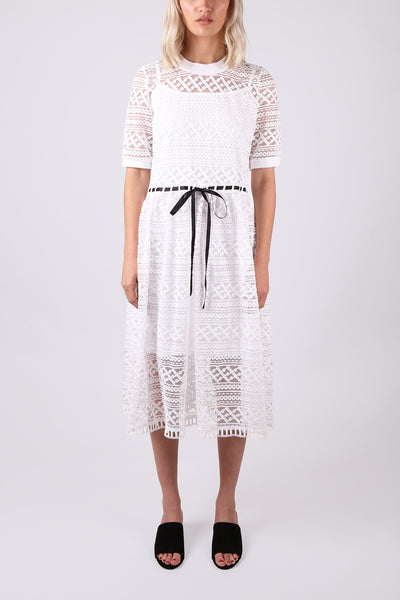 Lace Dress with Ribbon Tie