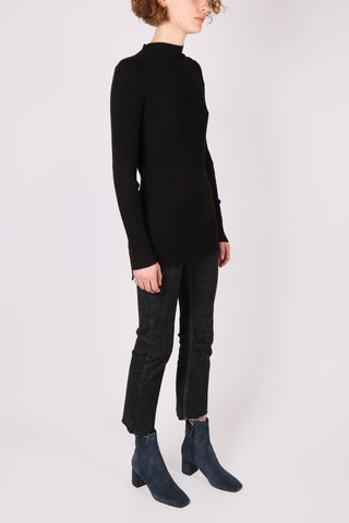Long Sleeve Ribbed Top Black