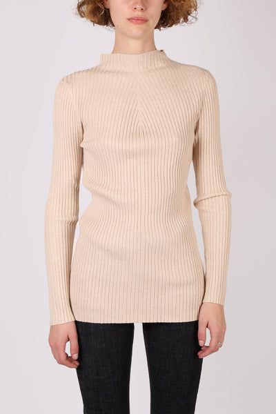 Long Sleeve Ribbed Top Oatmeal