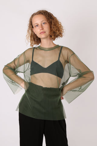 Mesh Long Sleeve Top Green