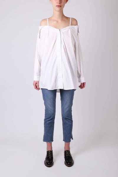 Off the Shoulder Button Up White