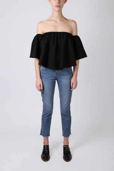 Off the Shoulder Crop Black