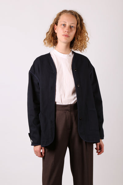 Cotton Collarless Coat
