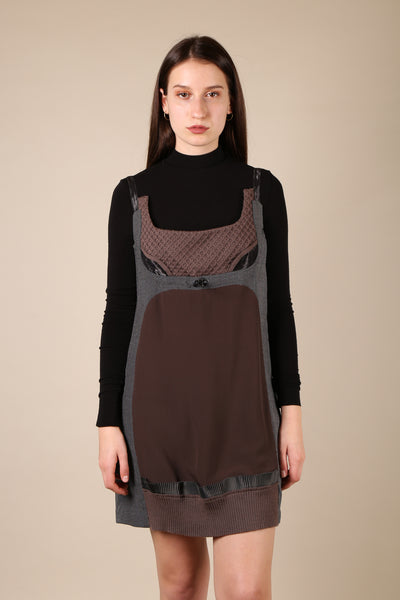Undercover Mixed Fabric Pinafore Dress - ShopGoh