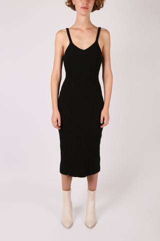 Ribbed Knit Dress Black
