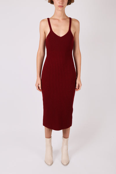 Ribbed Knit Dress Burgundy