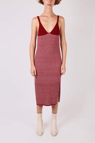 Two-Tone Red Knit Dress